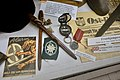 WW2 Norway. Recruitment brochure pamphlet for Frontkjemper (Norwegian Waffen-SS volunteer) , tent pegs Zeltbahn, Gebirgsjäger Edelweiss emblem, East Front Medal, compass, Ost-Front newspaper, etc. Lofoten krigsminnemuseum 2019 09964.jpg