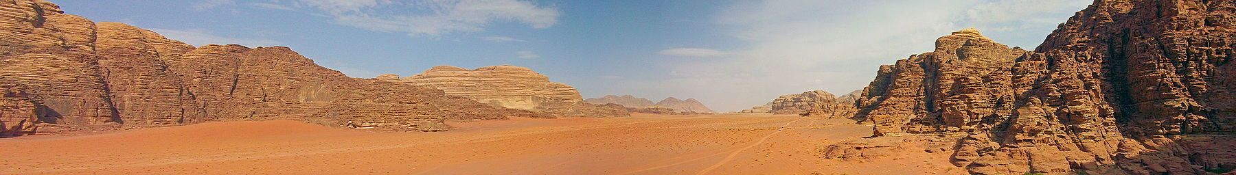 The mountains and distinctive red sands of Wadi Rum