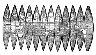 "Gore (segment) -  The gores of Waldseemüller's 1507 globe of the world, the first to use the name ""America"""