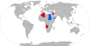 Walid (armored personnel carrier) - Map with Walid operators in blue with former operators in red