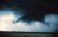 A rotating wall cloud with rear flank downdraft clear slot evident to its left rear.