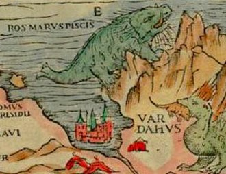 Walrus - A walrus, labeled Ros marus piscis, is depicted in а 16th-century map of Scandinavia (the Carta Marina).