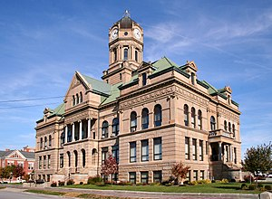 Dimension stone - Dimension stone has been used in the construction of buildings for centuries. Due to costs, today stone veneers are usually used in place of solid stone blocks. This courthouse was built of dimension stone quarried in Berea, Ohio.