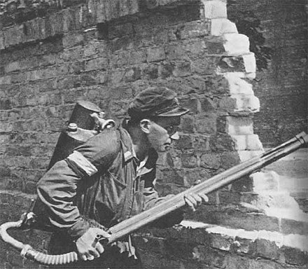 Resistance fighter armed with a flamethrower, 22 August 1944 Warsaw Uprising - Small PASTa - Flamethrower.jpg