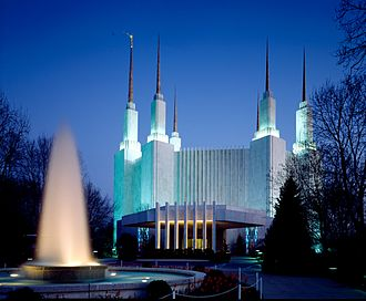 Washington D.C. Temple - Front view with main entrance