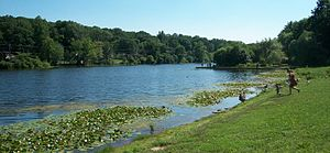Watchung, New Jersey - Fishing is allowed at Watchung Lake on a catch-and-release basis only.