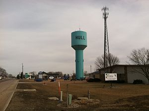 Hull, Iowa - Water tower located in the Hull (Iowa) Industrial Park just off US Highway 18.