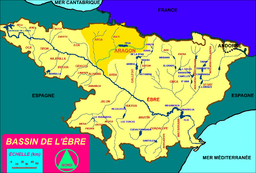 Watershed of the Aragon river (in dark yellow)