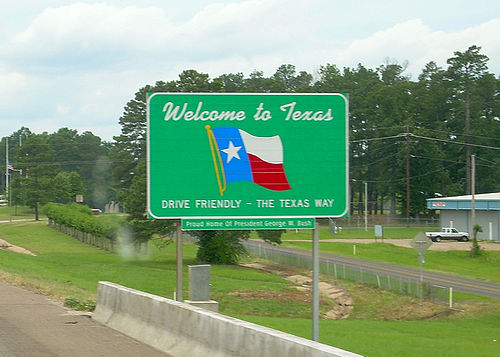Welcome to Texas road sign. - Texas