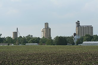 Weldon, Illinois - Weldon, Illinois Water tower and Grain Elevators