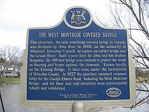 West Montrose Covered Bridge - Image: West Montrose Bridge Plaque