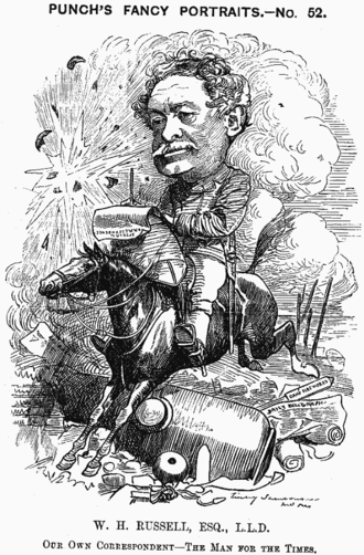 "William Howard Russell - Caricature from Punch, 1881: ""Our Own Correspondent—The Man for the Times"""
