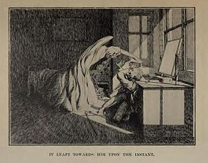 "Ghost story - Illustration by James McBryde for M.R. James's story ""Oh, Whistle, And I'll Come To You, My Lad""."