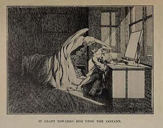 "Ghost story - Illustration by James McBryde for M. R. James's story ""Oh, Whistle, And I'll Come To You, My Lad""."