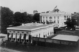 West Wing - Image: White House Office Building, and tennis court c.1909
