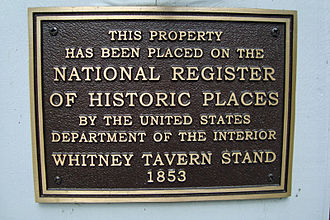 Whitney Tavern Stand - Image: Whitney Tavern Stand NRHP Sign