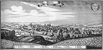 Wiesbaden - View of Wiesbaden from the Topographia Hassiae by Matthäus Merian in 1655.