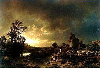 1850 in art - Image: Wilhelm Oswald Gustav Achenbach, Abendstimmung in der Campagna