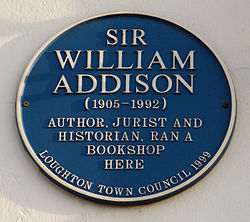 Photo of William Addison blue plaque