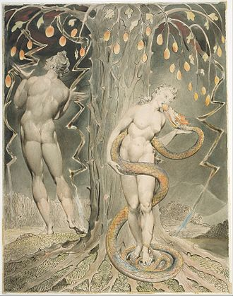 Ophites - William Blake, The Temptation and Fall of Eve, 1808 (illustration of Milton's Paradise Lost)