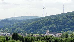 Bad Soden-Salmünster - A view of Salmünster with the wind farms located in the neighbouring Wächtersbach municipality