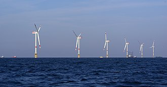 Thorntonbank Wind Farm - Image: Windmills D1 D6 (Thornton Bank) final construction phase