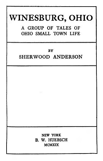 Sherwood Anderson - First edition title page of Winesburg, Ohio