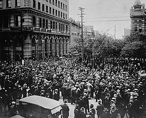 Crowd gathered outside old City Hall during the Winnipeg General Strike, June 21, 1919.