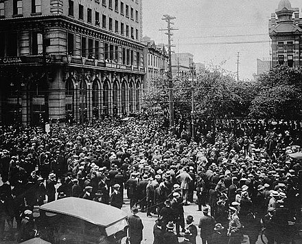 Crowds gathering outside the old City Hall during the Winnipeg general strike, 21 June 1919 WinnipegGeneralStrike.jpg