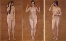 Nackter weiblicher Körper Dusche