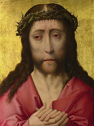 Christ and the Virgin Diptych - Image: Wokshop of Dirk Bourt Christ crowned with Thorns NG 712