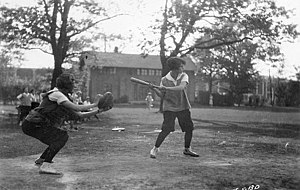 Women in baseball - Women playing baseball at the University of Wisconsin-Madison in 1928.