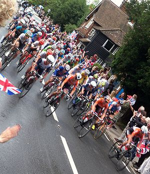 Abinger Hammer - The 2012 Women's Olympic Cycle Race passing through Abinger Hammer on its way to Box Hill