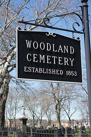 Woodland Cemetery (Cleveland) - Image: Woodland Cemetery sign