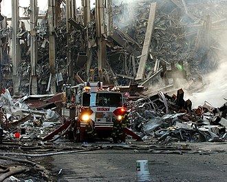 Emergency workers killed in the September 11 attacks - FDNY Truck at the collapsed World Trade Center on September 11, 2001.