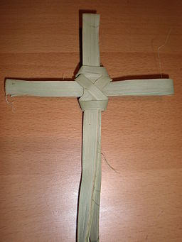 Woven palm leaf cross