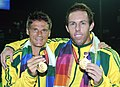 XIX Commonwealth Games-2010 Delhi Tennis (Men's Double) Paul Hanley and Peter Luczak of Australia won the Gold medal, at R K Khanna Tennis Stadium, in New Delhi on October 09, 2010.jpg
