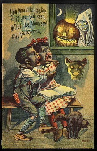 Halloween card - Early 20th century Halloween card featuring racist caricatures of black children