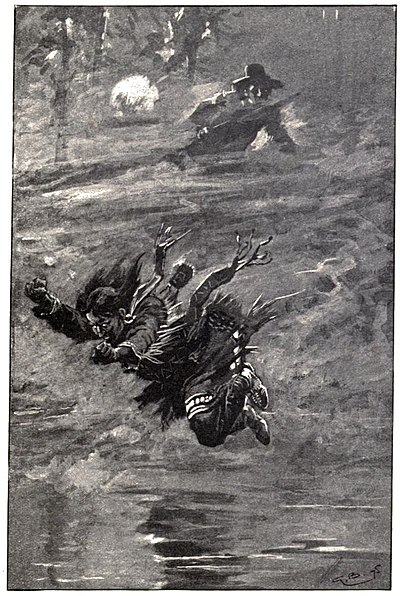 Native woman leaping into water, man with fire-arm in distance