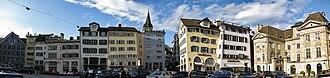 Münsterhof - Münsterhof, Zunfthaus zur Waag, to the left, Zunfthaus zur Meisen to the right