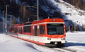 Täsch - The Zermatt train. Much of the economy of Täsch is based around tourism