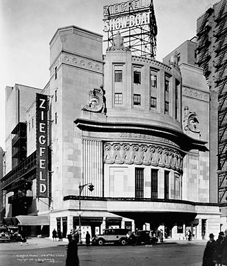 Ziegfeld Theatre (1927) - Ziegfeld Theatre during the run of Show Boat (1927–29)