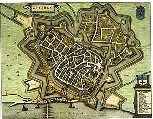 "Zutphen - 1649 map of Zutphen in Willem and Joan Blaeu's ""Toonneel der Steden"""