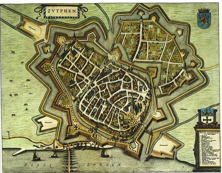 "1649 map of Zutphen in Willem and Joan Blaeu's ""Toonneel der Steden"""