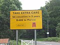 """Take extra care"" sign with number of casualties - geograph.org.uk - 839271.jpg"