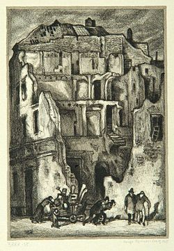 """The end of the Ghetto"", page 24 from the book ""Der Golem"", illustrated by Hugo Steiner-Prag"