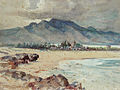 'Beach with Blue Mountain (Haleiwa)', watercolor painting by D. Howard Hitchcock, Cedar Street Galleries.jpg