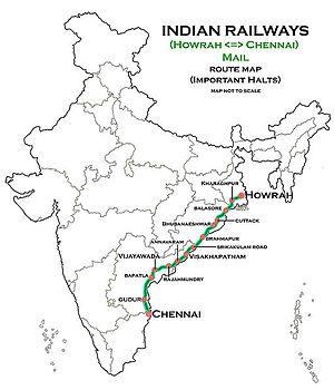 Howrah–Chennai main line - Howrah-Chennai railway route