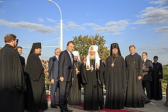 Transnistria - Former President of Transnistria Yevgeny Shevchuk and Sabbas, diocesan bishop of the Moldovan Orthodox Church