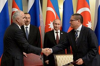 Shahin Mustafayev - Image: В присутствии В.Путина и И.Алиева подписано межправительственное соглашение о поощрении и взаимной защите инвестиций 2